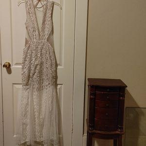 Luxxel cream tan mesh lace dress